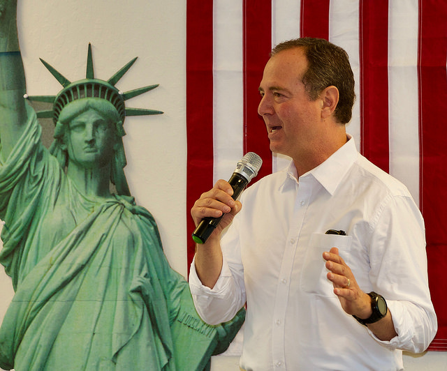 Adam Schiff talking at the DVC in July