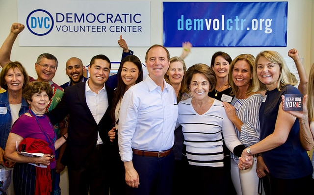 Adam Schiff and Anna Eshoo surrounded by Democratic Volunteer Center supporters