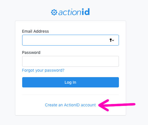 actionID signup screen