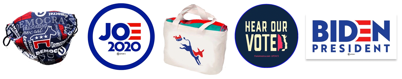 Democratic themed merchandise: button, tote bag, face mask, sticker
