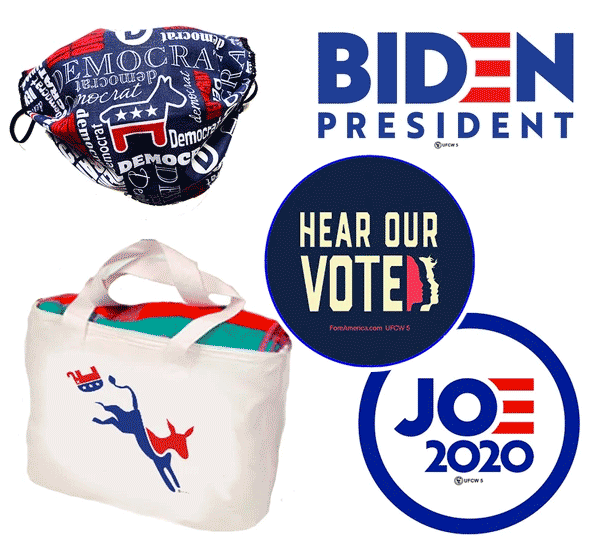 Photo of Democratic-themed mask, sticker, tote bag, and button.